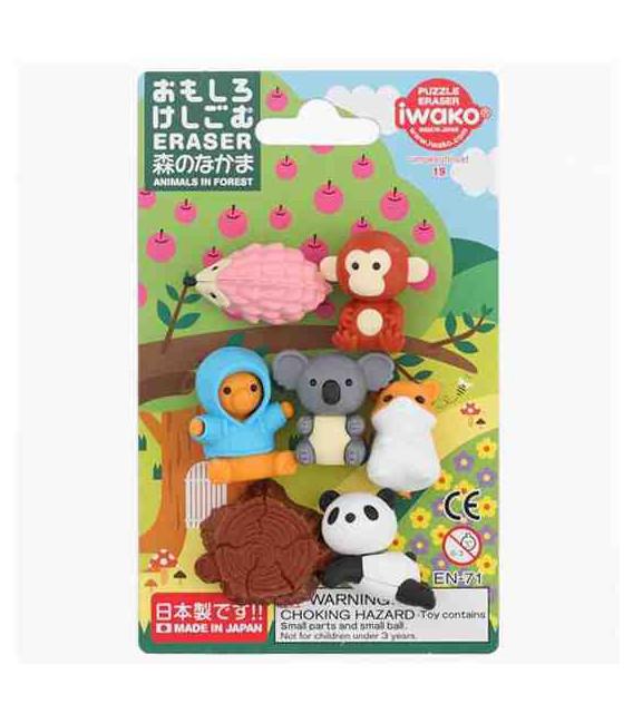 Iwako Puzzle Eraser - Animals in Forest - (Made in Japan)