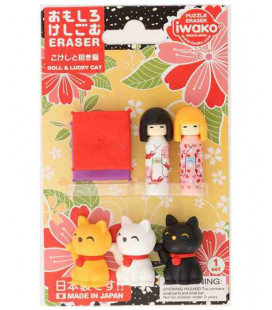 Iwako Puzzle Eraser - Doll & Lucky Cat - (Made in Japan)